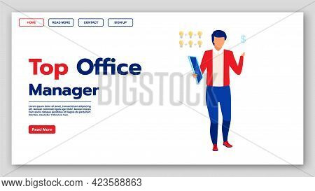 Top Office Manager Landing Page Vector Template. Management Classes Website Interface Idea With Flat