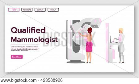 Qualified Mammologist Landing Page Vector Template. Mammography Procedure Website Interface Idea Wit