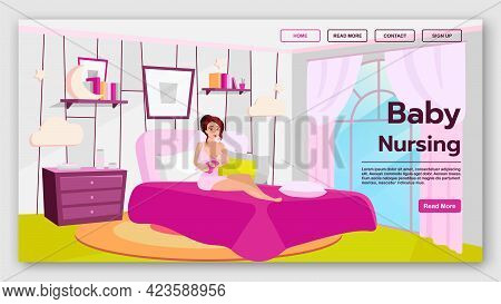 Baby Nursing Landing Page Vector Template. Home Breastfeeding Website Interface Idea With Flat Illus