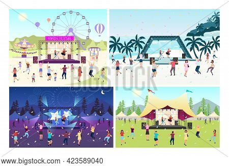 Music Festival Flat Vector Illustration Set. Open Air Live Performance. Rock, Pop Musician Concert I