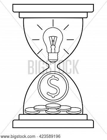 An Hourglass With A Light Bulb And A Coin Is A Metaphor: Ideas And Inventions Bring Money Over Time.