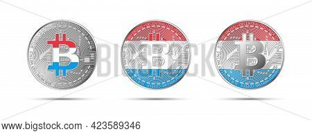 Three Bitcoin Crypto Coins With The Flag Of Luxembourg. Money Of The Future. Modern Cryptocurrency V