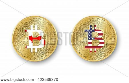 Four Golden Bitcoin Coins With Flags Of Canada And America. Vector Cryptocurrency Icons Isolated On