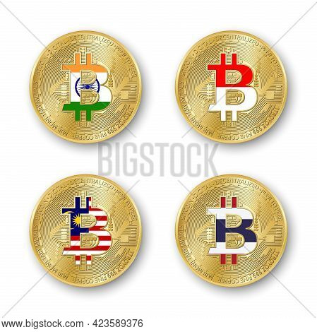 Four Golden Bitcoin Coins With Flags Of India, Indonesia, Malaysia And Thailand. Vector Cryptocurren