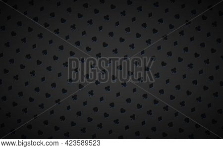 Modern Abstract Black And Blue Casino Background With Playing Card Signs. Poker Symbols On Black Bac