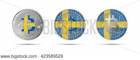 Three Bitcoin Crypto Coins With The Flag Of Sweden. Money Of The Future. Modern Cryptocurrency Vecto