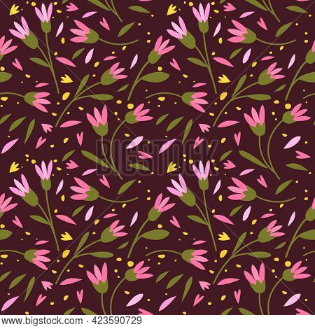 Cute Seamless Pattern With Colorful Small Flowers. Small Flowers On Dark Background, Vector Illustra