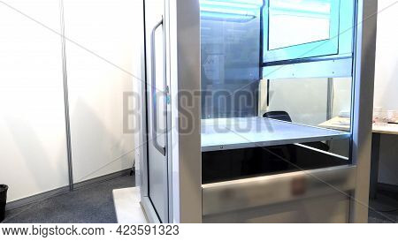 Glass Cabinet With Lighting. Hdr. X-ray Glass Cabinet In Doctors Office. Cab With Bright Light And G