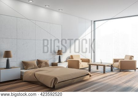 Light Bedroom Interior With Beige Bed And Pillows, Side View, Parquet Floor And Two Armchairs With C