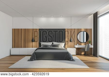 Wooden Bedroom Interior, Bed Linens And Pillows, Front View, Parquet Floor Near Window With Singapor