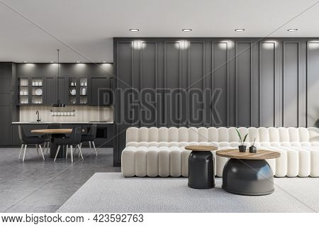 Interior Of Modern Office Waiting Room With Grey Walls, White Sofa With Two Round Coffee Tables And
