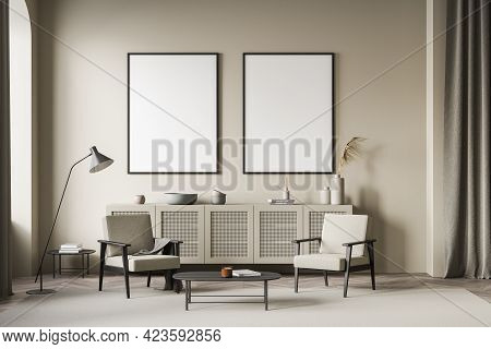 Light Living Room Interior With Two Armchairs And Coffee Table, Wooden Commode With Vase And Decorat