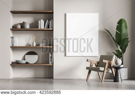 Relaxing Room Interior With Seat On Concrete Floor, Rack With Decoration And Books. Library, Reading