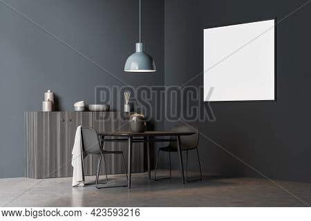 Modern Living Room Interior With Two Seats On Concrete Floor, Side View, Drawer With Decoration. Min
