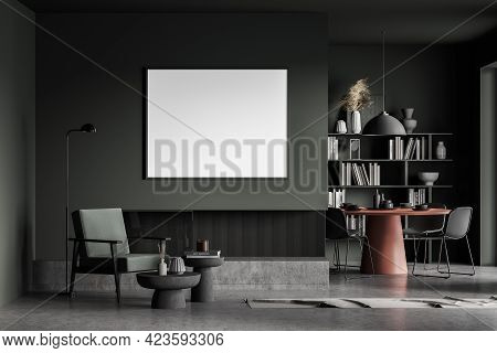 Interior Of Living Room With Green Walls, Concrete Floor, Comfortable Armchair, Round Coffee Tables