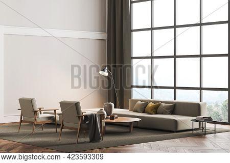 Copy Space Mockup Wall In Villa Living Room Design Interior, Beige Furniture On Bright Wall, Wood Fl