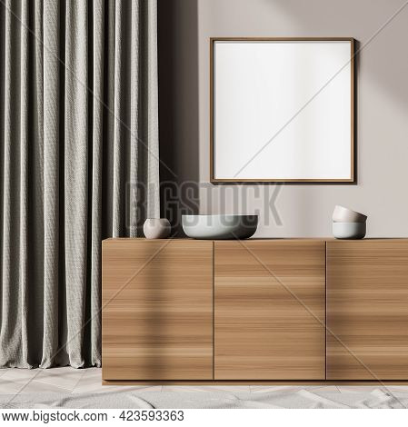 Beige Art Room Interior With Wooden Drawer, Vase With Minimalist Decoration In Reading Room. One Bla