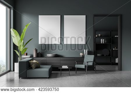Modern Living Room Interior With Couch And Seat, Black Wooden Drawer On Grey Floor. Minimalist Relax