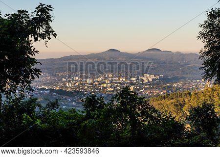 View With Small City, Mountains And Forest, Dois Irmãos, Rio Grande Do Sul, Brazil