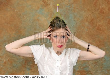 Young Worried Face Woman With Antenna On Her Head Scared She Is Being Followed And Thinking About Co