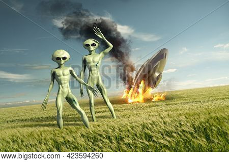 Vintage Flying Saucer Ufo Crash Site With Green Aliens. Classified Extraterrestrial Life On Earth. 3