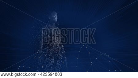 Composition of exploding human body formed with particles over network of connections. global connections, data processing and digital interface concept digitally generated image.