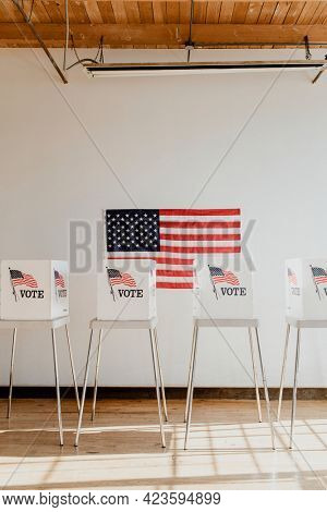 American democracy voting booth chairs
