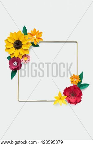 Square gold frame with flower paper craft mockup