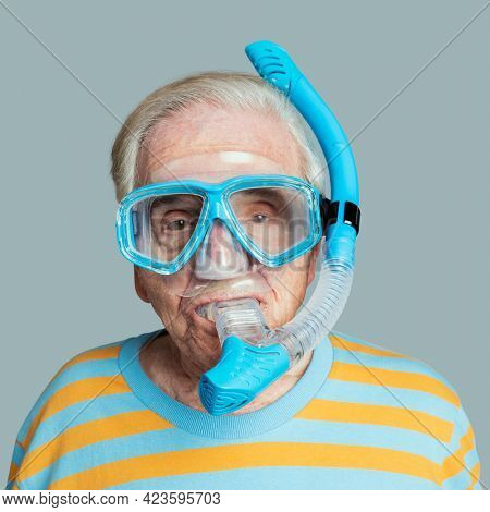 Senior man wearing snorkeling goggles mockup