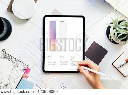 Woman using a digital tablet mockup