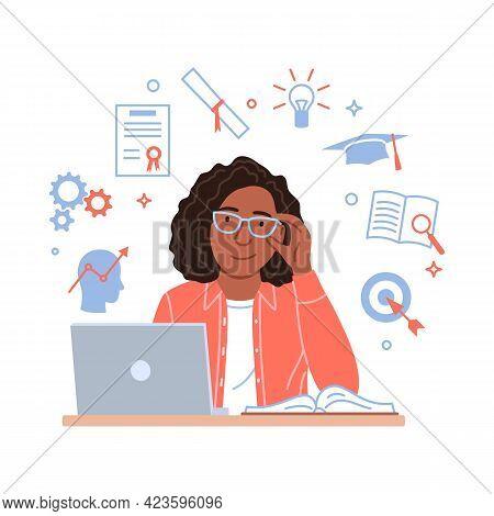 Skills Development Concept. Flat Black Woman Works On Laptop On Motivation Learning Education Progre