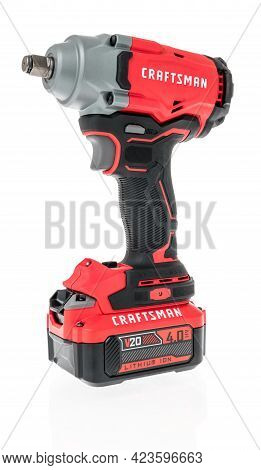 Winneconne, Wi - 10 June 2021:  A Package Of Craftsman Impact Wrench 1/2 Inche On An Isolated Backgr