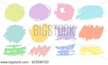 Brush Stroke Color Set. Brush, Ink, Paints. Hand Drawn Vector. Round, Square Strokes. Grunge Texture