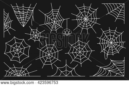Spiderweb Flat Vector Set. Web Icons White Outline, Simple Thin Line Isolated On Black Background. L