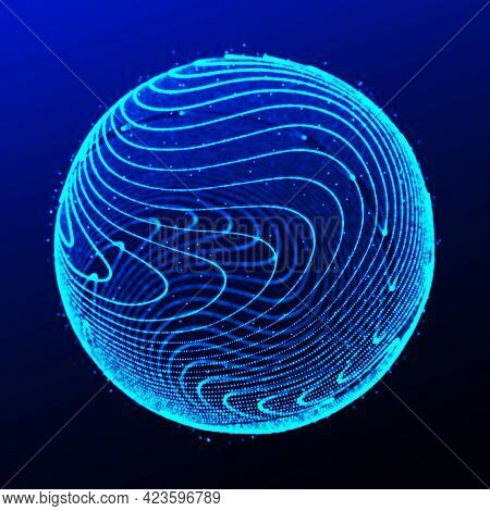 Abstract 3D Sphere. Sphere With Twist Lines. Glowing Lines Twisting Logo Design. Outer Space Object.