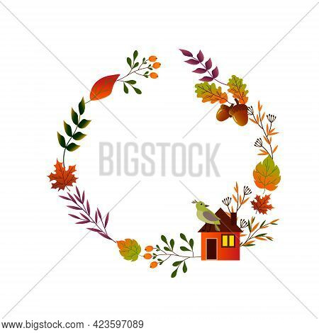 Round Frame With Autumn Leaves And Red Berries. Hello, Autumn. Vector Illustration Isolated On White
