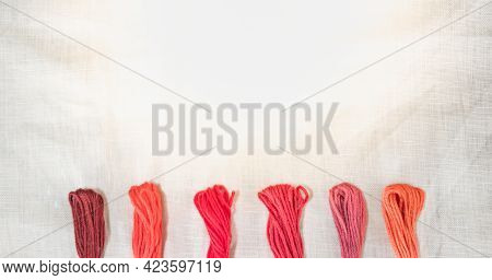 The Red And Pink Tone Threads For Embroidery Cross-stitch On White Cotton Canvas, For Leisure And Ho