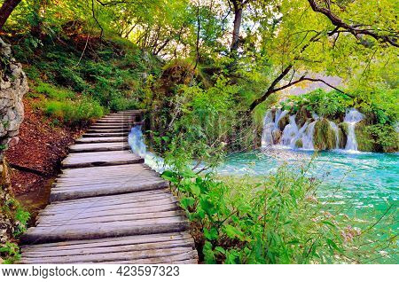 Boardwalk Through The Watery Landscape Of Plitvice Lakes National Park, Croatia