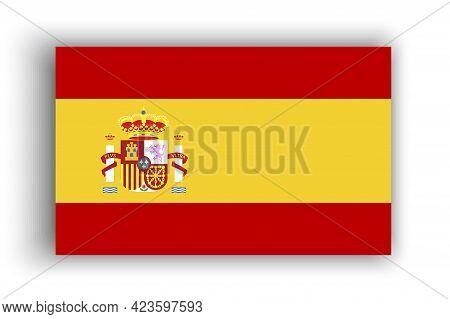 Illustration With Spain Flag. National Flag Graphic Design. Spain Flag In Flat Style. Vector Illustr