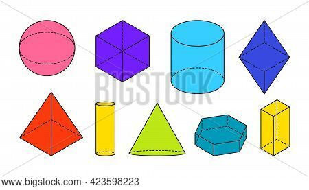 Colored Flat Volumetric Basic Geometric Shapes. Black Outline Simple 3d Figure With Dashed Invisible