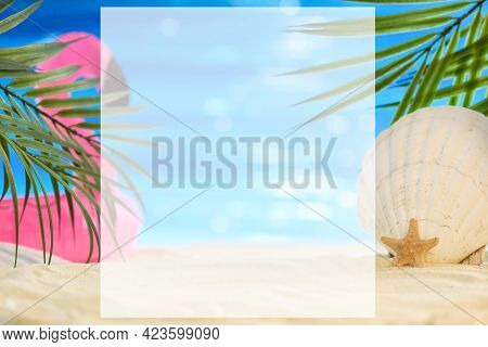 Summer Beach Concept With White Place Copy Space. Seashell, A Starfish And An Inflatable Pink Flamin