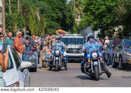 New Orleans, La - June 12: New Orleans Police Officers Lead The Parade At The Start Of The Annual Wo