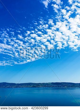 Idyllic Swiss Landscape, View Of Lake Zurich In Wollerau, Canton Of Schwyz In Switzerland, Zurichsee