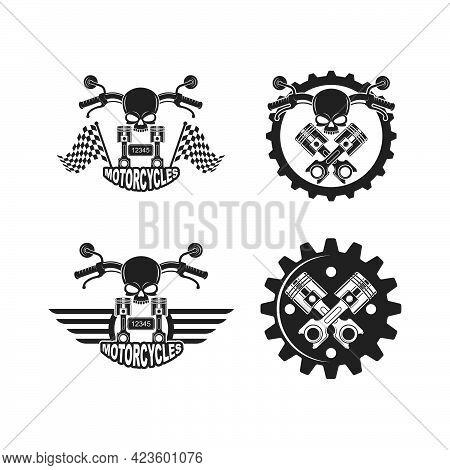 Custom Motorcycle Vector Illustration Design Template Web