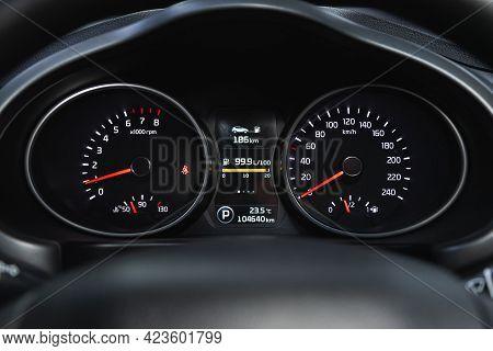 Novosibirsk, Russia - June 08, 2021: Kia Sportage, Sign And Symbol On Car Dashboard. Car Speedometer