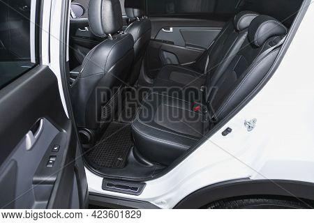Novosibirsk, Russia - June 08, 2021: Kia Sportage, Comfort Car Inside. Clean Car Interior: Black Bac
