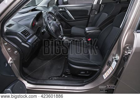 Novosibirsk, Russia - June 08, 2021: Subaru Forester, Steering Wheel, Shift Lever, Multimedia  Syste