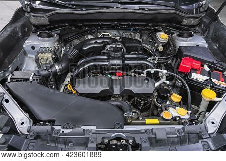Novosibirsk, Russia - June 08, 2021: Subaru Forester, Close Up Detail Of Clean Car Engine