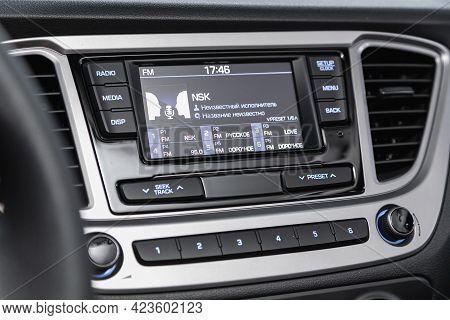 Novosibirsk, Russia - June 08, 2021: Hyundai Solaris, A Close Up On A Black Panel With Radio,  Playe