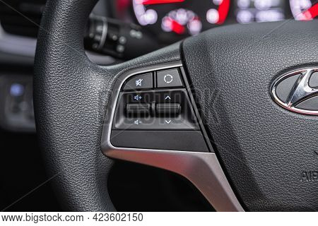 Novosibirsk, Russia - June 08, 2021: Hyundai Solaris, Steering Wheel With Multifunction Buttons For